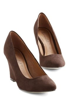 All Work and Go Play Wedge in Brown. After a productive day at the office, youre looking forward to a night on the town in these chocolate-brown wedges! #brown #modcloth