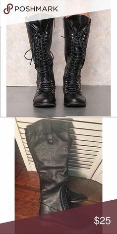 Knee high combat boot never worn Love Culture Shoes Combat & Moto Boots