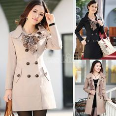 Womens Double-Breasted Long Trench Jacket Coat With Scarf