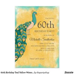 Shop Birthday Teal Yellow Watercolor Peacock Invitation created by thepartyshop. Peacock Birthday Party, 75th Birthday Parties, 60th Birthday Party Invitations, 90th Birthday, Watercolor Peacock, Teal Yellow, Women, 30th, Blue Green