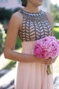 Pink and Gray Bridesmaid Dress - I think that is actually a wicked cute dress! Different color though.