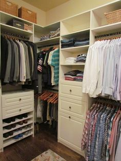 Man Space: A Guy Likes a Nice Closet, Too -  A closet doesn't have to be over the top to make a big impact. David Buchsbaum at Atlanta Closet and Storage Solutions created this smart custom-made unit to perfectly fit a corner space.