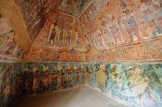 Mural paintings at the Maya ruin site of Bonampak, Chiapas, Mexico