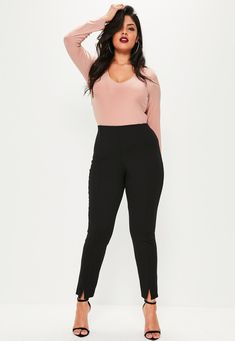 51d2266844eda Missguided - Plus Size Black Skinny Fit Cigarette Pants Black Pants Outfit