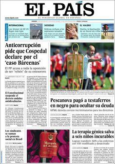 Los Titulares y Portadas de Noticias Destacadas Españolas del 12 de Julio de 2013 del Diario El País ¿Que le parecio esta Portada de este Diario Español?