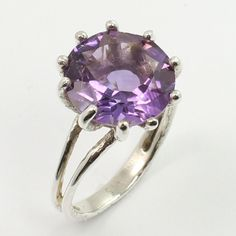 925 Sterling Silver Delicate Ring Size US 7.75 Real AMETHYST Gemstone Best Gift #SunriseJewellers #Fashion