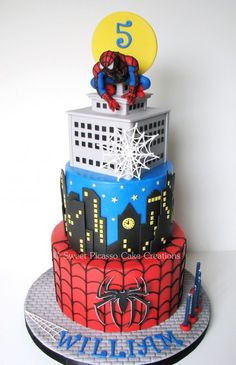 Spiderman Cake - A Spiderman cake for a special little boy: classic chocolate cake filled with cookies 'n cream buttercream and milk chocolate ganache. Spiderman topper is made out of gumpaste. Birthday Cakes For Men, Novelty Birthday Cakes, 5th Birthday, Birthday Ideas, Cake Birthday, Fancy Cakes, Cute Cakes, Superhero Cake, Cake Spiderman