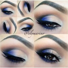 Blue Eyeshadow Make Up ❤ liked on Polyvore featuring beauty products, makeup, eye makeup, eyeshadow, eyes and beauty