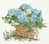 Hydrangea - cross stitch kit by Thea Gouverneur - A close up picture of this lovely flowering garden shrub with the large flower heads. Frame Background, Garden Shrubs, Close Up Pictures, Large Flowers, Cross Stitch Embroidery, Hydrangea, Floral Wreath, Decorative Boxes, Symbols