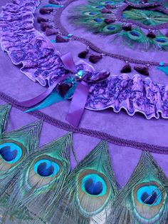 "Ready To Ship 48"" Peacock Feather Christmas Tree Skirt or Tablecloth in PURPLE and TEAL"