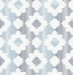 Up close, this wallpaper features hundreds of dots in navy and sky. Stepping back, an abstract floral pattern is revealed amongst alternating stripes of blue. Babylon is an unpasted, non woven wallpaper.