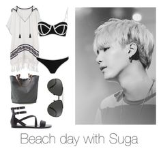 """""""Beach day with Suga"""" by bts-outfit-imagines on Polyvore featuring Tory Burch, South Beach, Forever 21, Independent Reign and Linda Farrow"""