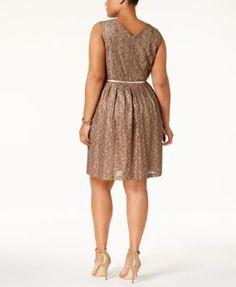 Ellen Tracy Plus Size Lace Fit & Flare Dress with Belt - Tan/Beige 14W