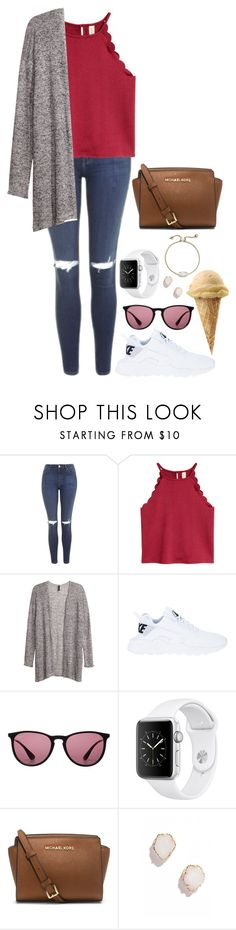 """"" by kyleemorrison ❤ liked on Polyvore featuring Topshop, H&M, NIKE, Ray-Ban, Michael Kors and Kendra Scott"