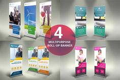 4 Multipurpose Roll-Up Banners - SK by UNIK Agency on @creativemarket