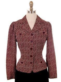 Vintage Ladies Rayon Blouse/Jacket Maroon Print early 1940s Small