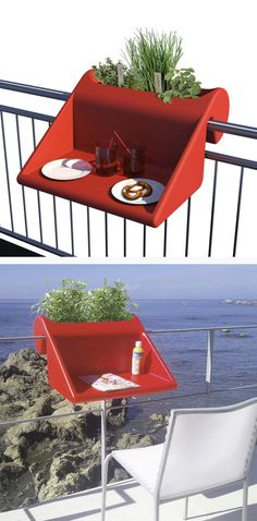 balKonzept Balcony Desk Red by Michael Hilger // I need this for my narrow balcony! clever, space-saving balKonzept Balcony Desk Red by Michael Hilger // I need this for my narrow balcony! Narrow Balcony, Modern Balcony, Ideas Hogar, Solid Wood Furniture, Cool Gadgets, Apartment Living, Design Your Own, Space Saving, Inventions