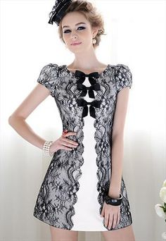Monochrome Contrast Lace Dress With Bows