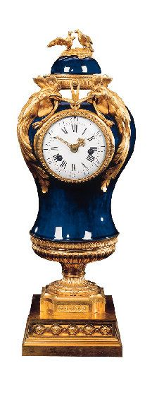 A LATE LOUIS XV ORMOLU-MOUNTED SEVRES 'BLEU NOUVEAU' PORCELAIN URN MANTEL CLOCK Circa 1765, the movement signed 'Mabille a Paris'
