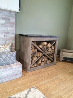 Pretty little indoor wood storage - DIY                                                                                                                                                                                 More