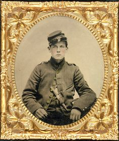 Unidentified Young Soldier in Union Uniform with Bowie Knife in 1860s Sixth-plate, hand-colored tintype. Liljenquist Family Collection, Prints and Photographs Division, Library of Congress.