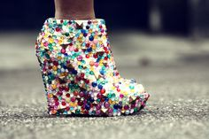 shoes, high heels, wedges, diy, studs, studded, studded boots, studded shoes, jewelled shoes, jewels, colourful, white shoes, heels - Wheretoget
