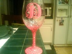 handpainted wine glass for birthday
