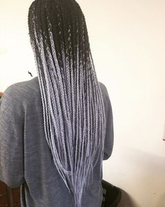 My husband had me get my whole head done in grey/silver, now I want ombré braids