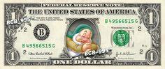 SLEEPY 7 Dwarfs Snow White - REAL Dollar Bill Disney Cash Money Memorabilia