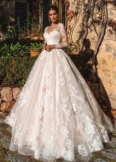 """Nora Naviano 2019 Wedding Dresses — """"Voyage"""" Bridal Collection nora naviano 2019 bridal long sleeves sweetheart neckline full embellishment princess romantic ball gown a line wedding dress sheer button back royal train mv -- Nora Naviano 2019 Wedding D Sheer Wedding Dress, Pretty Wedding Dresses, Lace Wedding Dress With Sleeves, Long Sleeve Wedding, Lace Sleeves, Luxury Wedding Dress, Glamorous Wedding Dresses, Organza Wedding Dresses, Fairytale Wedding Dresses"""