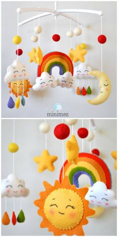 fürs baby mobile New Baby Crochet Mobile Ideas Ideas Crochet Baby Mobiles, Crochet Mobile, Kids Crochet, Crochet Ideas, Felt Mobile, Mobile Kids, Summer Crafts For Kids, Felt Baby, Baby Cribs