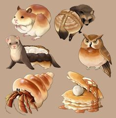 I want these animals. Cute Food Art, Cute Art, Cute Animal Drawings, Cute Drawings, Chibi Food, Food Drawing, Food Illustrations, Animal Design, Cute Illustration