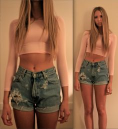 """""""QUICKIE: DIY CROP TOP"""" Step one, discard your sense of shame. Step two, cut the bottom off of a perfectly good shirt."""