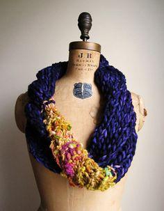 Bohemian+knit+loop+infinity+scarf.+Purple.+Yellow.+by+Happiknits,+$76.00