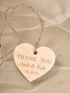 Custom Wooden Heart Thank You Tag , Engraved Wedding Wood Tag, Favors Tags  Wedding, Gift Tag rustic, Rustic Wood Favor Tags on Etsy, $1.25