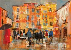 Gallery of Works Collage Landscape, Landscape Paintings, Paintings I Love, Oil Paintings, Mike Bernard, City Painting, Collage Art Mixed Media, Building Art, Contemporary Landscape