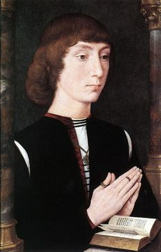 Portrait of a Man holding a coin of the Emperor Nero - Hans Memling - WikiPaintings.org