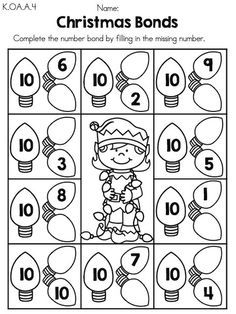 preschool christmas math worksheets - Google Search