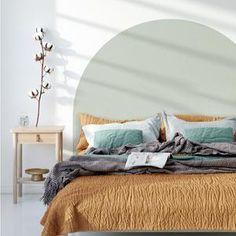Wallpaper Headboard, Headboard Decal, King Size Headboard, Bedroom Wallpaper Behind Bed, Bubble Painting, Estilo Tropical, Calming Colors, My New Room, Bedroom Decor