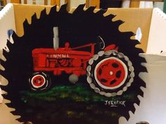 red tractor blade  handpainted by j frederick  homestead crafts