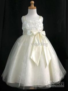 Wholesale Ivory Lace Bodice Spaghetti Amazing Waist Tulle Flower Girls Bow Princess A Line Girls Pageant Dresses Graduation Dresses 2013, Free shipping, $94.08-107.52/Piece | DHgate