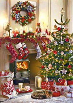 Christmas Scenery, Christmas Artwork, Christmas Mood, Merry Little Christmas, Christmas Paintings, Christmas Wallpaper, Christmas Pictures, Vintage Christmas, Christmas Crafts