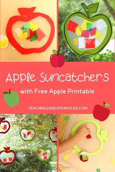 Put together an easy toddler apple craft that looks great in the window! Comes with a free apple printable template. Toddler Themes, Toddler Art, Toddler Crafts, Toddler Activities, Crafts For Kids, Fall Crafts, Infant Crafts, Thanksgiving Crafts, Preschool Apple Theme