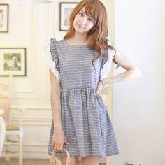 Tokyo Fashion - Ruffled-Sleeve Striped A-Line Dress