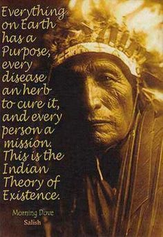 """Everything on Earth has a Purpose, every disease an herb to cure it, and every person a mission. This is the Indian Theory of Existence."" Morning Dove, Sioux"