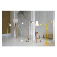 WALLACE Oak floor lamp and table with white shade