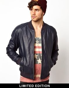 ASOS Leather Bomber Jacket. Black, Burgundy, and Navy. I don't know which one to get.