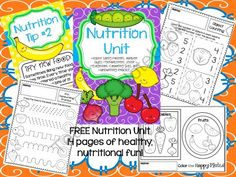 Tips FREE Nutrition Unit from Teacher Twinkle Toes on - 14 pages - This is my very first unit study This is a unit all about Nutrition. There are 5 full color nutritional tips to share with your class. Nutrition Activities, Kids Nutrition, Health And Nutrition, Nutrition Classes, Education Today, Elementary Education, Physical Education, Preschool Food, Preschool Activities