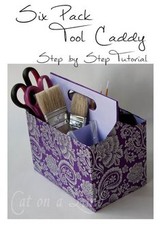 DIY Craft Room Ideas and Craft Room Organization Projects - 6 Pack Tool Caddy Organizer - Cool Ideas for Do It Yourself Craft Storage - fabric, paper, pens, creative tools, crafts supplies and sewing notions Craft Room Storage, Diy Storage, Storage Ideas, Utensil Storage, Storage Caddy, New Crafts, Hobbies And Crafts, Quick Crafts, 6 Pack
