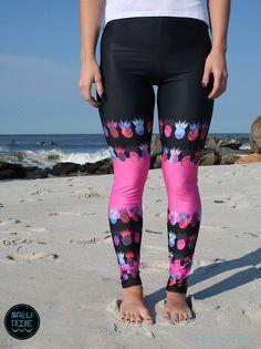 Tutti frutti Pink Pineapple - Legging for SURF, SUP, Yoga, Running, Biking